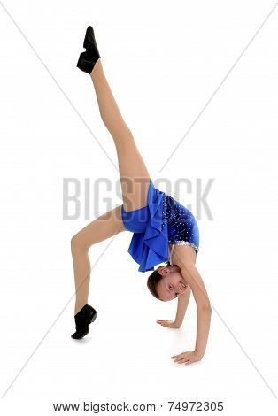 Happy Acrobatic Girl In Back Bend