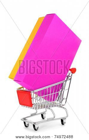 a colorful box in a shopping cart on a white background