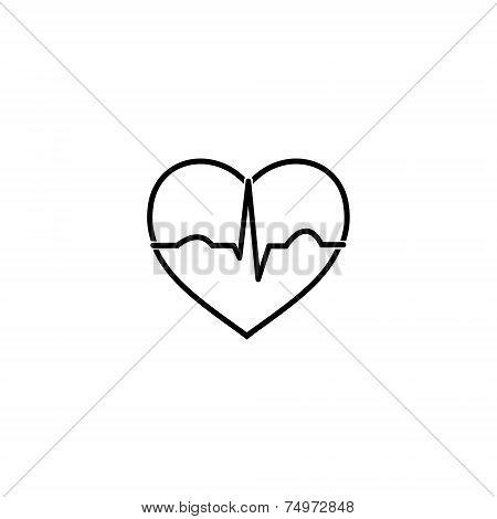 Minimal black and white heart ecg icon