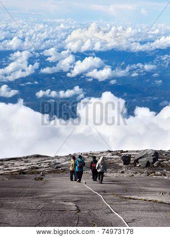 Hikers At The Top Of Mount Kinabalu, Sabah, Malaysia