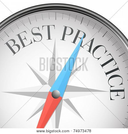 detailed illustration of a compass with best practice text, eps10 vector