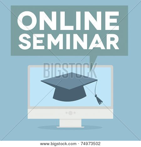 minimalistic illustration of a monitor with an online Seminar speech bubble, eps10 vector
