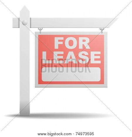detailed illustration of a For Lease real estate sign, eps10 vector