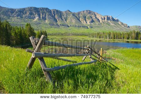 Rail Fence In Wyoming Mountains