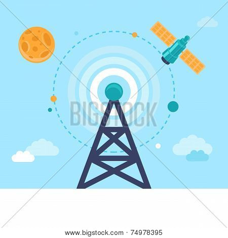 Vector Antenna Tower And Satellite
