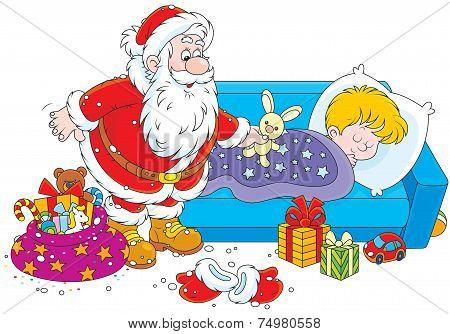 Santa with gifts for a child