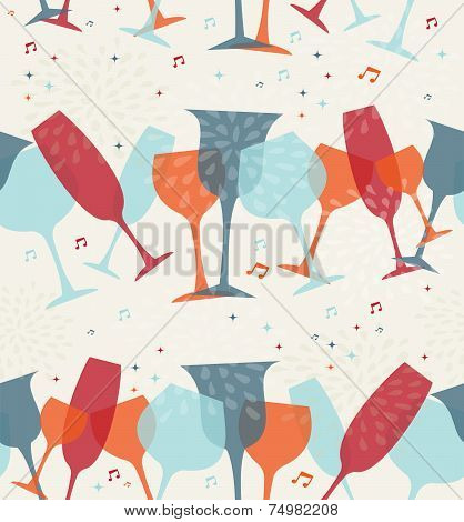 Cocktail Glass Seamless Pattern Background