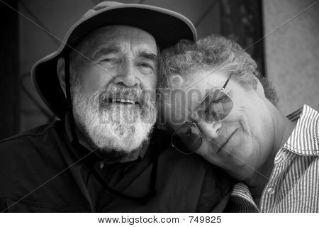 Senior Couple , Black and White