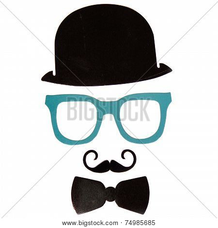 Photobooth Birthday And Party Set - Glasses, Hats, Crowns, Masks, Lips, Mustaches Isolated On White