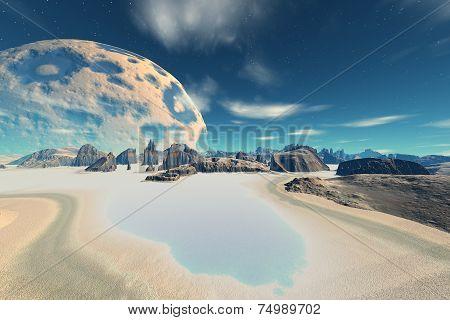 3D Rendered Fantasy Alien Planet. Bay