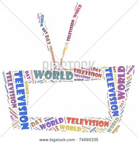World Television Day. Word Cloud Illustration.