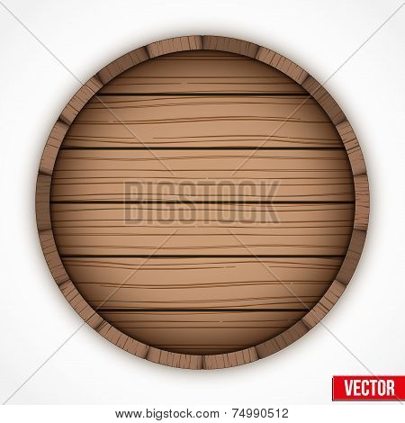 Wooden cask for alcohol drinks emblem