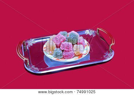 Marmalade on a tray.