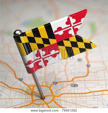 Maryland Small Flag on a Map Background.