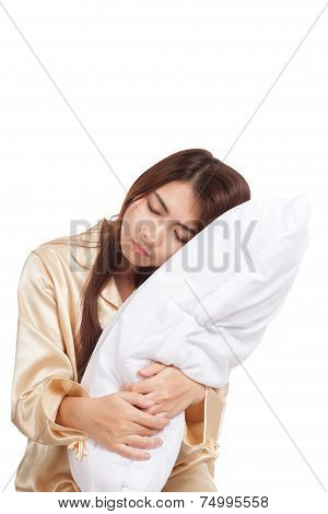 Asian Girl  Wake Up  Sleepy And Drowsy With Pillow