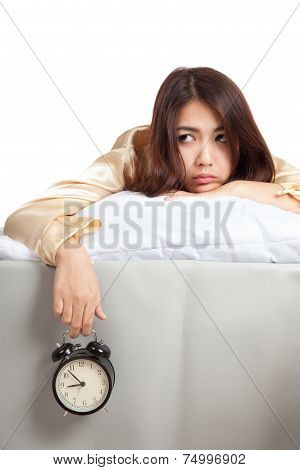 Sleepy Asian Girl  Wake Up In Bad Mood With  Alarm Clock