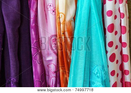 Brightly Colored Scarfs And Veils