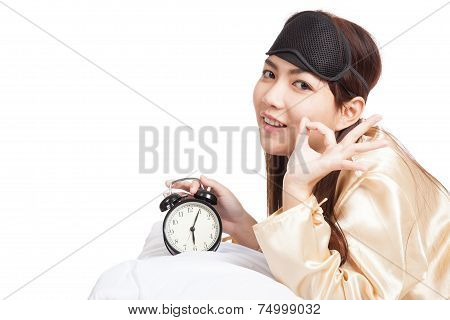 Asian Girl Wake Up Show Ok With Eye Mask  And Alarm Clock