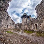 stock photo of zakarpattia  - Nevitsky Castle ruins Kamyanitsa village 12 km north of Uzhgorod Zakarpattia Oblast Ukraine Built in 13th century  - JPG