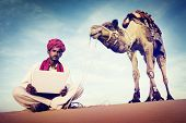 image of desert animal  - Indian Man Using Laptop Desert Concept - JPG