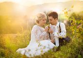 stock photo of meadows  - Young wedding couple enjoying romantic moments sitting on a meadow - JPG