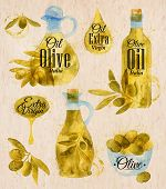 ������, ������: Watercolor Drawn Olive Oil Village Style