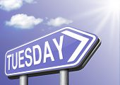 stock photo of tuesday  - tuesday next day calendar concept for appointment program or event   - JPG