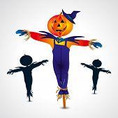stock photo of scarecrow  - Scarecrows halloween symbol or sign  - JPG