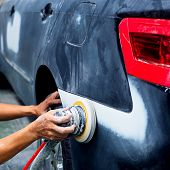 stock photo of auto garage  - Car body work auto repair paint after the accident - JPG