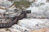 stock photo of hell  - Jigokudani hell valley walking trail in Noboribetsu Hokkaido Japan - JPG
