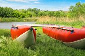 stock photo of raft  - Catamarans for rafting on the river bank - JPG