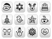 stock photo of rudolf  - Xmas vector black buttons set with stroke isolated on white - JPG
