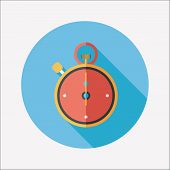 picture of stopwatch  - Stopwatch Flat Icon With Long Shadow - JPG