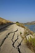image of landslide  - Road destroyed by a landslide in Sicily - JPG
