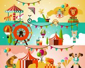 foto of circus clown  - Circus entertainment attractions performances background with jugglers athletes animals vector illustration - JPG
