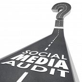 pic of measurements  - Social Media Audit words on a road to illustrate measuring or monitoring online or digital marketing campaign effectiveness - JPG