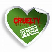 image of animal cruelty  - Heart green cruelty free sticker icon isolated on white - JPG