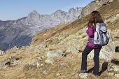 picture of wander  - Woman hiking on Swiss Alps watching the mountain landscape - JPG