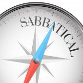 stock photo of sabbatical  - detailed illustration of a compass with sabbatical text - JPG