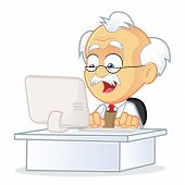 picture of physicist  - Vector Picture of a Professor Cartoon Character Sitting in Front of a Computer - JPG