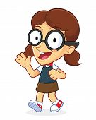 image of dork  - Clipart Picture of a Girl Geek Cartoon Character Waving and Walking - JPG