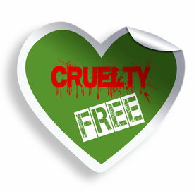picture of animal cruelty  - Heart green cruelty free sticker icon isolated on white - JPG