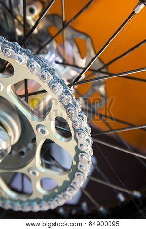 Motorcycle Rear Chain Detail Closeup