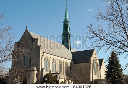 Neogothic Church And Spire In Saint Paul Minnesota