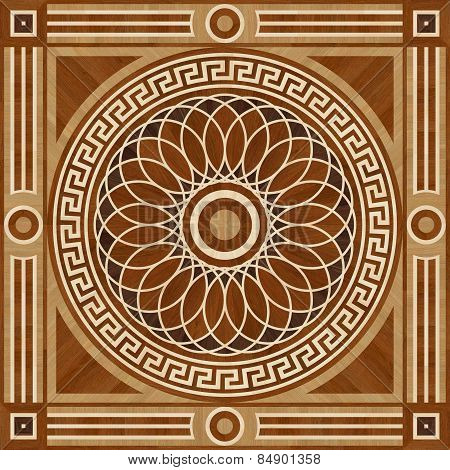 Medallion Design Parquet Floor, Wooden Seamless Texture For 3D Interior