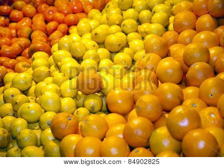 Fruits On A Retail Market As A Background