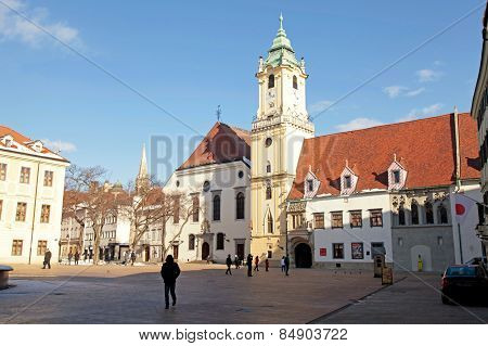 City Hall In The Old Town Of Bratislava, Slovakia