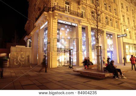 Main Shopping Street Graben At Night, Vienna, Austria.