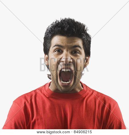 Close-up of a man screaming