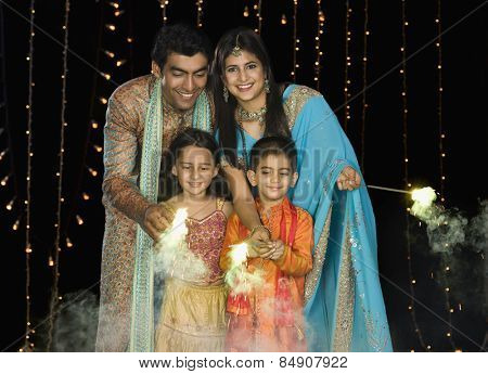 Family celebrating Diwali festival
